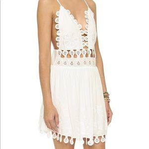 Honey Punch teardrop white lace mini dress